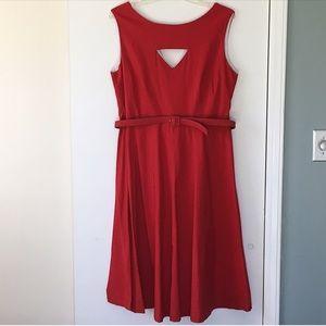 Bettie Page Red Retro Cutout Circle Dress